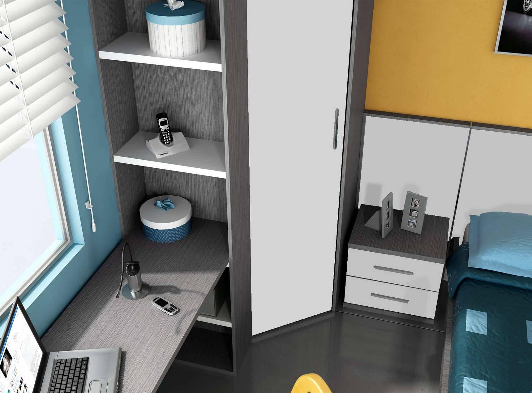 Armario Garaje Ikea ~ Idehábita juvenil armario rincón chaflán, cabecero corrido y escritorio