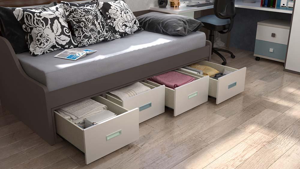 Ideh bita dormitorio juvenil con cama nido 4 cajones for Cama nido sin cajones