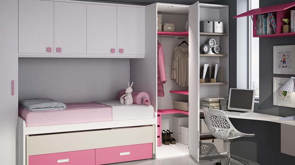 Ideh bita dormitorio juvenil con cama compacto for Compactos juveniles