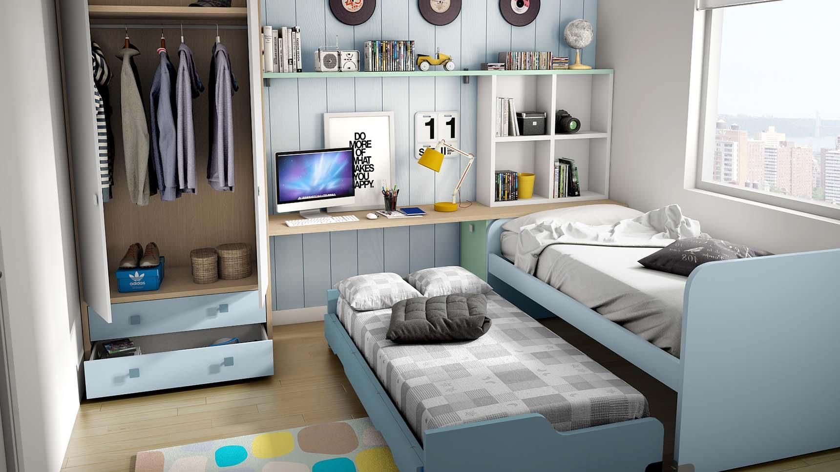 Ideh bita habitaci n juvenil con dos camas for Habitacion juvenil dos camas