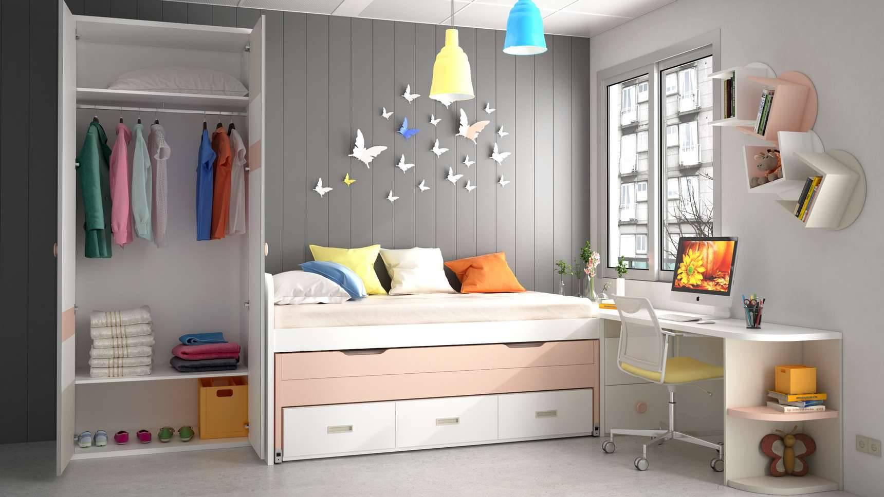 Dormitorio juvenil con cama compacta ideh bita - Cama juvenil compacta ...