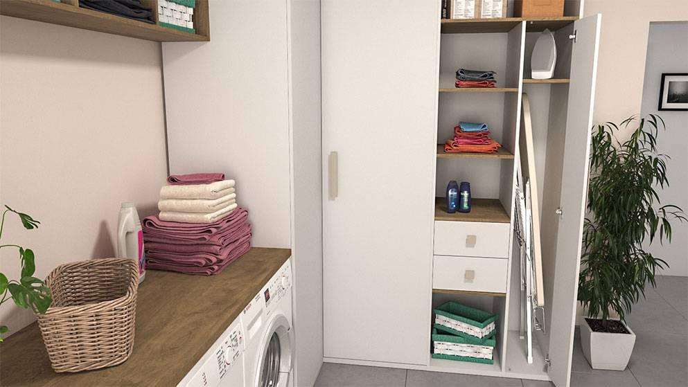cuenta con espacio para lavadora y secadora armarios para almacenaje y un mueble de libre creado totalmente a nuestro gusto para guardar la