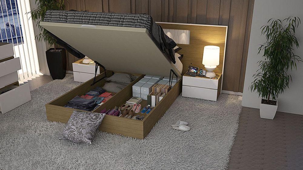 Dormitorio matrimonio con luz led y siempre util canape, facilmente elevable para su apertura - idehábita.com