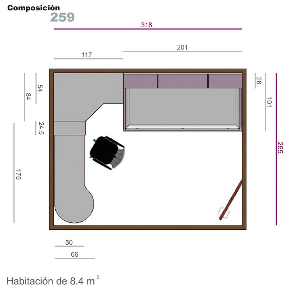 Juvenil armario rincón 259