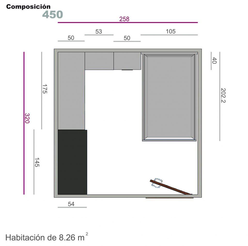 composición cabecero bancada 450
