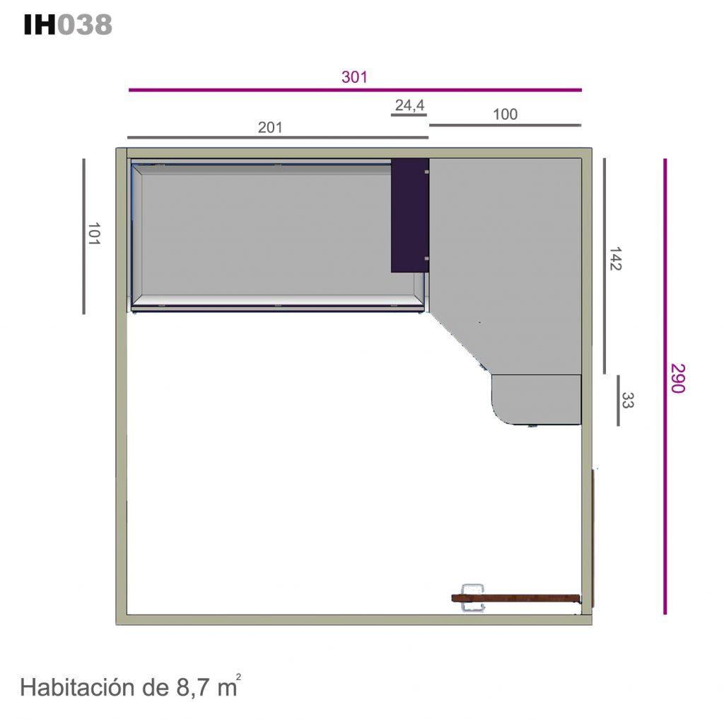 armario rincón chaflán ih038