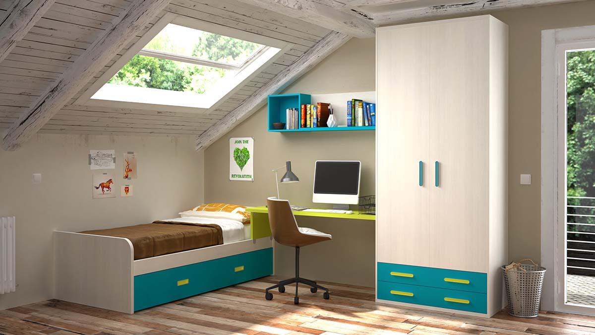 Ideh bita habitaci n juvenil con cama nido doble - Cama nido doble ...