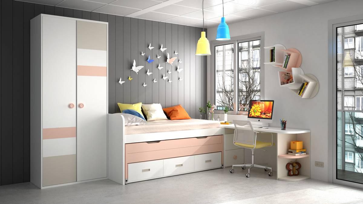 Dormitorio juvenil con cama compacta - IH140 - idehabita.com