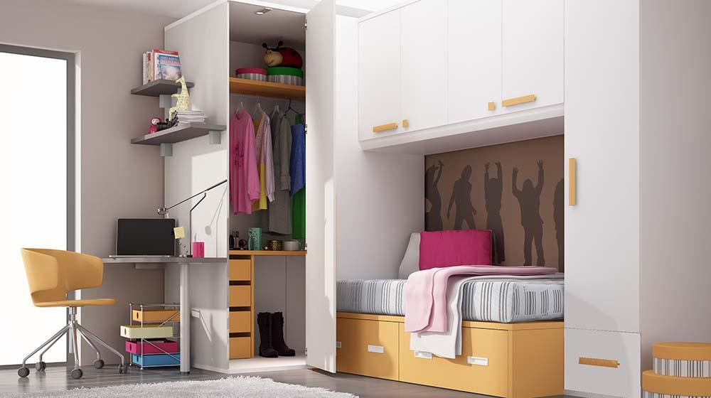 Ideh bita dormitorio juvenil con armario vestidor y cama - Dormitorios con armario ...