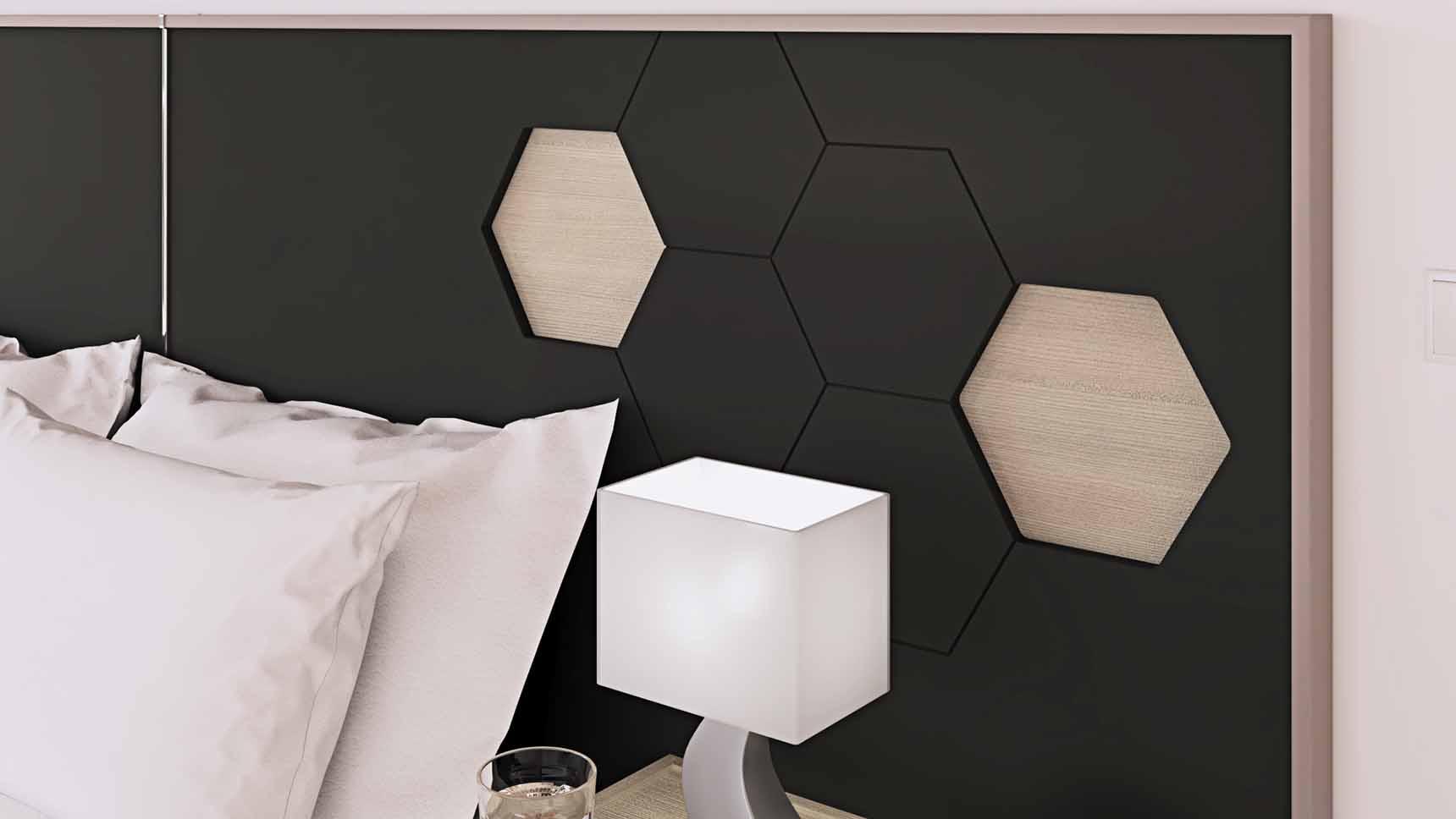 cabecero hexagonal lacado ih111