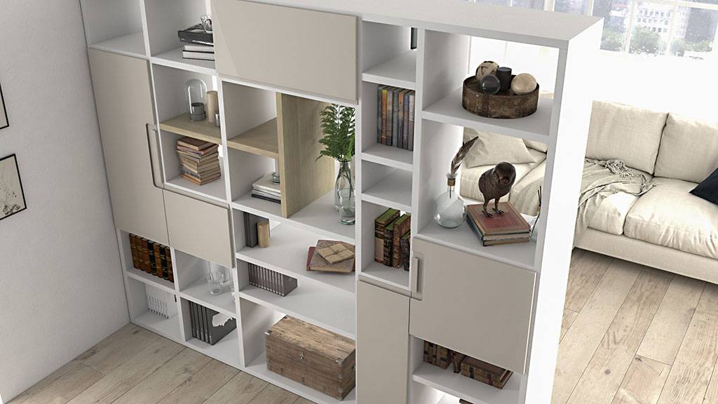 Ideh bita estanter a divisor de ambientes con mesa de centro - Estanterias separadoras de ambientes ...