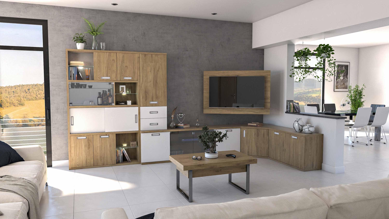 Mueble De Sal N Con Modulo Bajo En Esquina Y Soporte Tv Ideh Bita # La Esquina Muebles