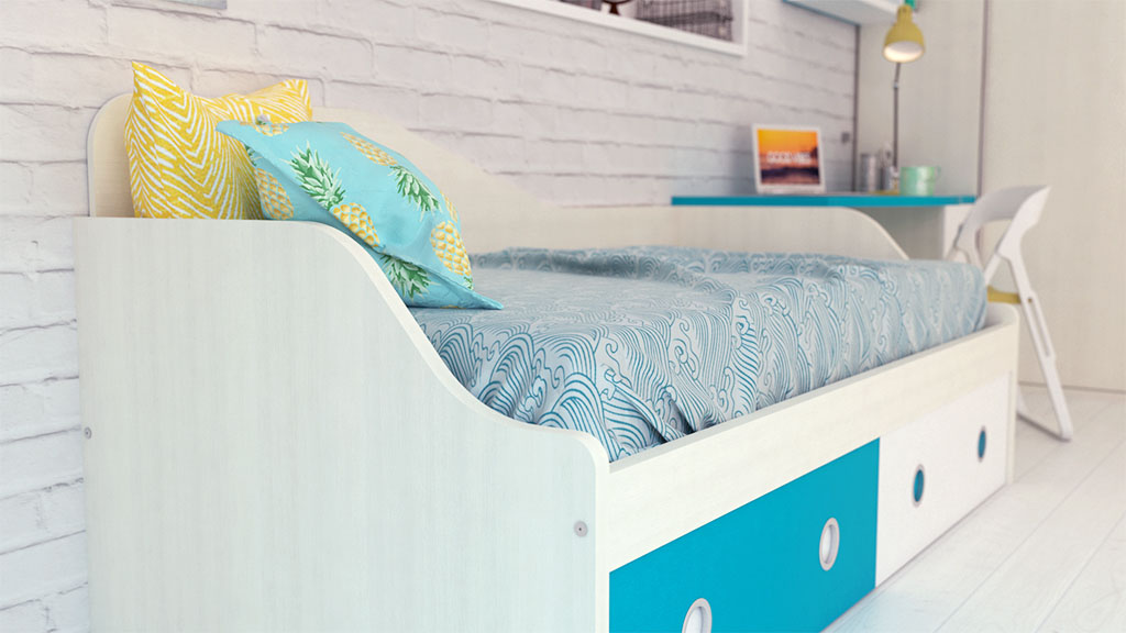 Dormitorio juvenil con armario corredera en rincón - idehábita.com