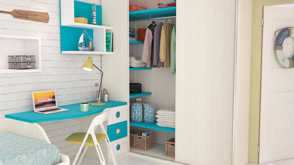 Dormitorio juvenil con armario corredera en rincón - idehabita.com