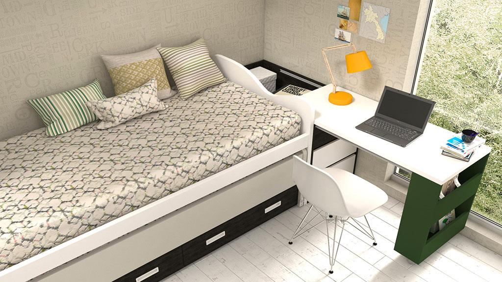 Dormitorio Juvenil con arcón deslizable idehabita.com