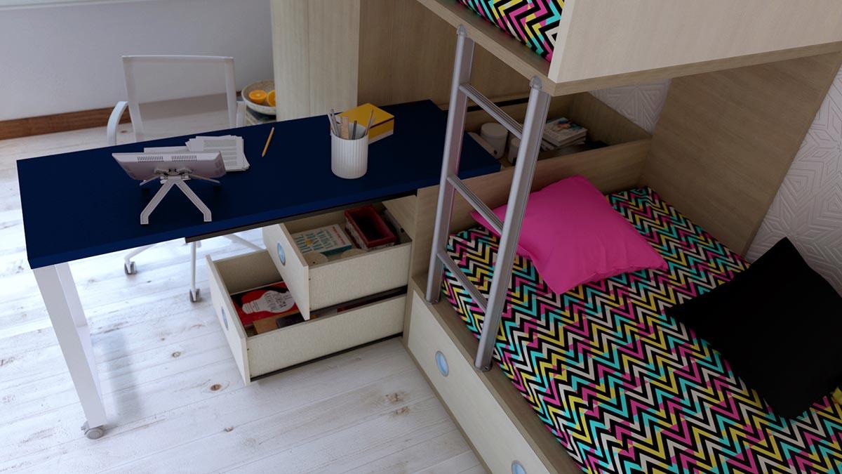 Dormitorio Juvenil con Camas Trenecito IH188 detalle 1 v2