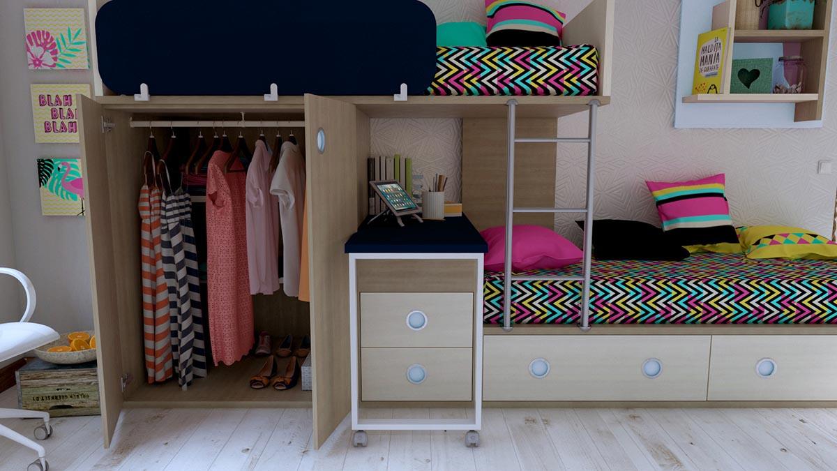 Dormitorio Juvenil con Camas Trenecito IH188 detalle 4 v2