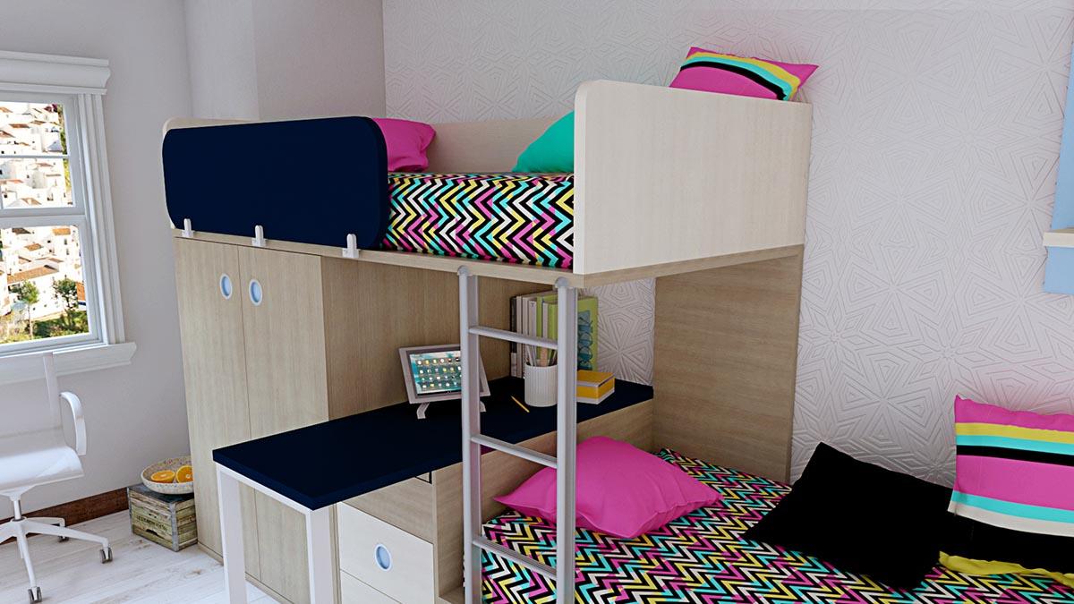 Dormitorio Juvenil con Camas Trenecito IH188 detalle 5 v2