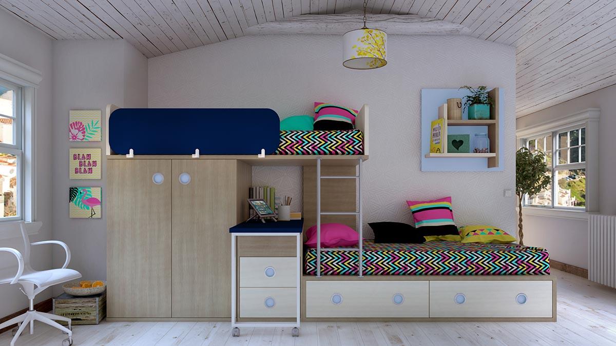 Dormitorio Juvenil con Camas Trenecito IH188 general v2