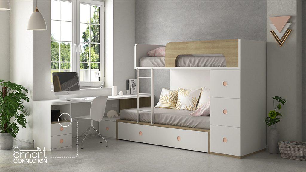 Dormitorio juvenil con cargador USB integrado idehabita.com