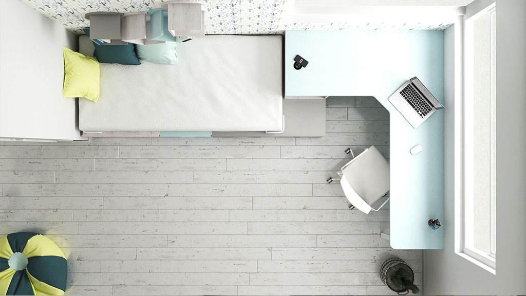 Dormitorio juvenil con mueble con cargador wireless idehabita.com
