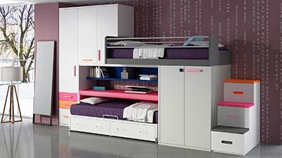 dormitorio juvenil con literas trenIH009CDI